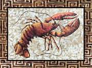 Rust Paintings - Coastal Lobster Decorative Painting Greek Border Design by MADART Studios by Megan Duncanson
