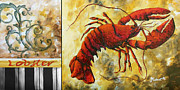 Dinner Painting Originals - Coastal Lobster Decorative Painting Original Art Coastal Luxe Lobster By Madart by Megan Duncanson