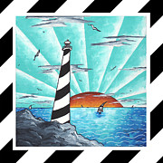 Licensed Paintings - Coastal Nautical Decorative Art Original Painting Stripes Light House SEEKING THE LIGHT by MADART by Megan Duncanson