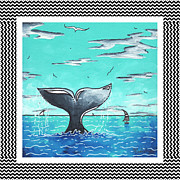 Whale Painting Framed Prints - Coastal Nautical Decorative Art Original Painting Whale Tail Chevron Pattern SEA FARER by MADART Framed Print by Megan Duncanson