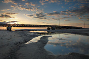 Pea Island Prints - Coastal Ponds And Bridge I Print by Steven Ainsworth