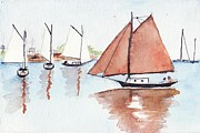 Maine Coast Drawings - Coastal Reflections by Robert Parsons