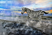 Zebra Mixed Media - Coastal Stripes I by Betsy A Cutler East Coast Barrier Islands