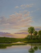 Trees At Sunset Paintings - Coastal Sunset by Audrey McLeod