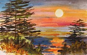 Seacoast  Drawings Metal Prints - Coastal Sunset Metal Print by John  Williams