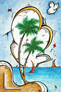 Coastal Tropical Art Contemporary Sailboat Kite Painting Whimsical Design Summer Daze By Madart Print by Megan Duncanson