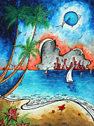 Coastal Tropical Beach Art Contemporary Painting Whimsical Design Tropical Vacation By Madart Print by Megan Duncanson