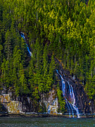 Queen Charlotte Strait Prints - Coastal Waterfall Print by Robert Bales
