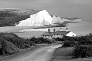 Seaford Photo Prints - Coastguards cottages Print by Rachel  Slater
