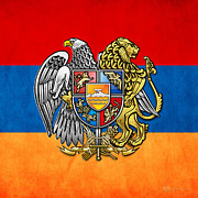Coat Of Arms Digital Art - Coat of Arms and Flag of Armenia by Serge Averbukh