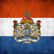 Coat Of Arms Digital Art - Coat of Arms and Flag of Netherlands by Serge Averbukh