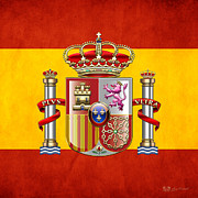Coat Of Arms Digital Art - Coat of Arms and Flag of Spain by Serge Averbukh