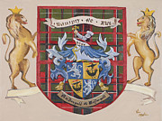 Family Coat Of Arms Art - Coat of Arms-Painted by Vic  Mastis