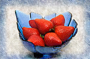 Strawberry Mixed Media - Cobalt Blue Berry Boat by Andee Photography