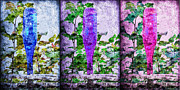 Old Wooden Fence Posts Prints - Cobalt Blue Purple And Magenta Bottles Collage Print by Andee Photography