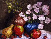 Still Life With Pears Posters - Cobalt Bowl Poster by Susan Richardson