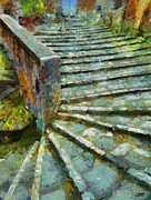 Poster Posters - Cobbled stairs in Pitignano Poster by Dragica  Micki Fortuna