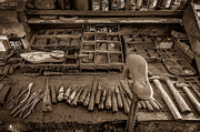 Shoe Repair Prints - Cobblers Tools BW Print by David Morefield