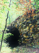 Autumn Woods Posters - Cobblestone Bridge Poster by Heather Bridenstine