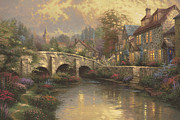 England Framed Prints - Cobblestone Brooke Framed Print by Thomas Kinkade