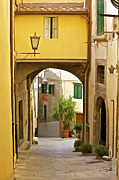 Wall Stone Wall Prints - Cobblestone Street of Tuscany Print by David Letts