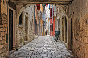 Cobblestone Paintings - Cobblestone Streets of Rovinj by Sheldon Kralstein