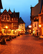 Rhine Valley Posters - Cobbletone Street in Bacharach at Twilight Poster by Greg Matchick