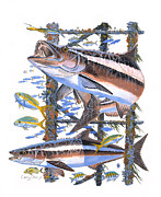 Fish Painting Posters - Cobia hangout Poster by Carey Chen