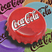 Bottle Cap Mixed Media Framed Prints - Coca-Cola Cap Framed Print by Tony Rubino