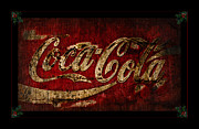Antique Coca Cola Sign Prints - Coca Cola Christmas Holly Print by John Stephens