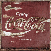 Closeup Coke Sign Prints - Coca Cola Faded Sign Print by John Stephens