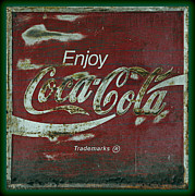 Weathered Coca Cola Sign Framed Prints - Coca Cola Green Grunge Sign Framed Print by John Stephens