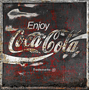 Closeup Posters - Coca Cola Grunge Sign Poster by John Stephens