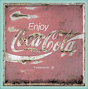 Closeup Coke Sign Prints - Coca Cola Pastel Grunge Sign Print by John Stephens