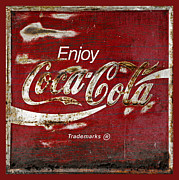 Closeup Coke Sign Prints - Coca Cola Red Grunge Sign Print by John Stephens