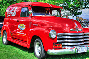Wide Front Grill Posters - Coca cola red retro chevy Poster by Eti Reid
