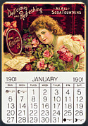 Calendar Prints - Coca - Cola Vintage Calendar Print by Sanely Great