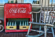 Cooler Posters - Coca Cola Vintage Cooler and Rocking Chair Poster by Paul Ward