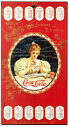 Calendar Metal Prints - Coca - Cola Vintage Poster Calendar Metal Print by Sanely Great