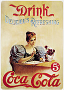 Drink Metal Prints - Coca - Cola Vintage Poster - Drink Delicious Refreshing Metal Print by Sanely Great