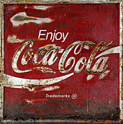 Closeup Coke Sign Prints - Coca Cola Wood Grunge Sign Print by John Stephens