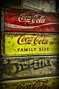 White Red And Yellow Prints - Coca-Cola Wooden Crates Print by Paul Ward