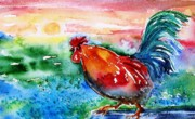 Cockerel Paintings - Cock a Doodle Doo  by Trudi Doyle