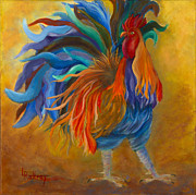 Rooster Painting Prints - Cock-of-the-Walk Print by Lynn Rattray