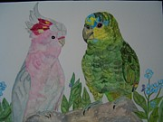 Amazon Parrot Paintings - Cockatoo and an Amazon Parrot by Nami ODonnell