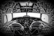 Dc-3 Plane Prints - cockpit of a DC3 Dakota Print by Paul Fell