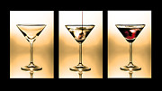 Nightlife Photo Posters - Cocktail triptych in gold Poster by Jane Rix
