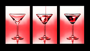 Club Photo Framed Prints - Cocktail triptych in red Framed Print by Jane Rix