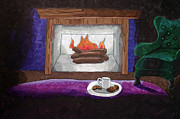 Cookie Drawings Prints - Cocoa and Cookies by the Fire Print by J M L Patty