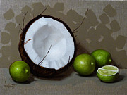 Fruits Painting Prints - Coconut and Key Limes IV Print by Clinton Hobart
